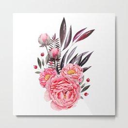 Peonies Bouquet Metal Print