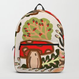 Fly Agaric Toadstool Forest Folkart, Red Fungi Mushroom Design with Trees Backpack