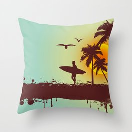 Sunny beach with palm surfer in Hawaii Throw Pillow