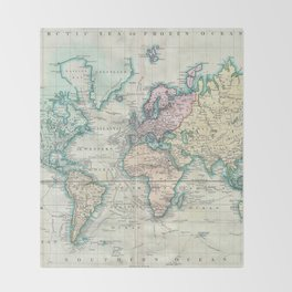 Vintage Map of The World (1801) Throw Blanket