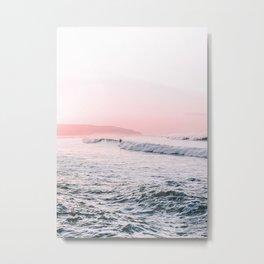 Ocean, Surfer, Pink Sunset, Beach Wall Art Metal Print