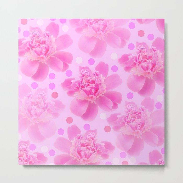 Cute and girly - pink flowers and dots - pink tones - #society6 #buyart Metal Print
