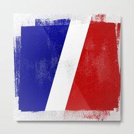 French Distressed Halftone Denim Flag Metal Print