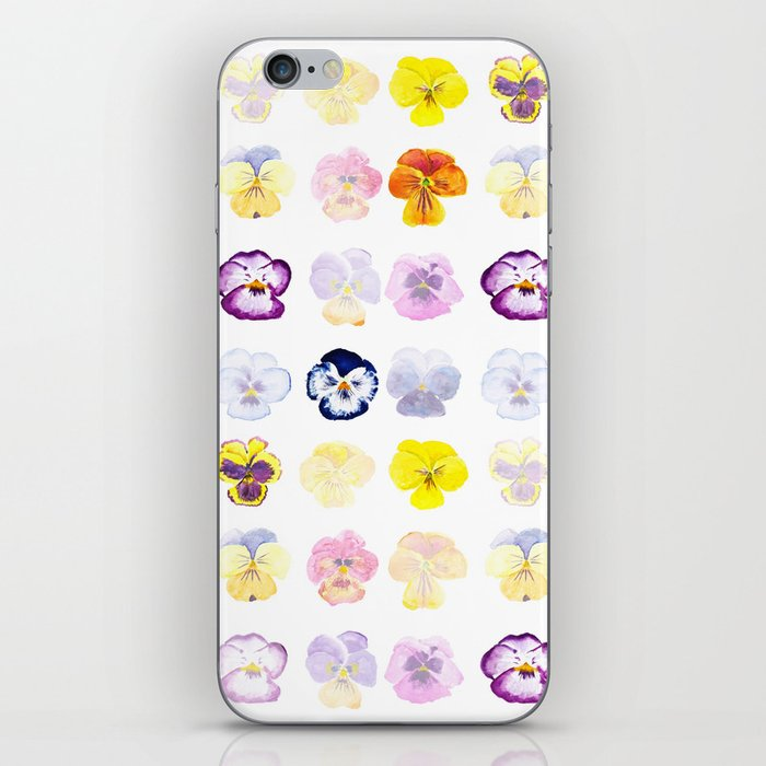colorful pansies watercolor painting iPhone Skin
