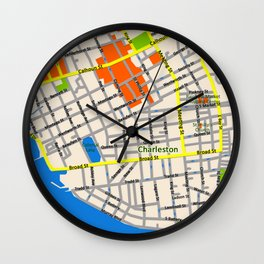 Map of Charleston, SC Wall Clock