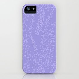 Round Eucalyptus Leaf Toss in Lavender iPhone Case