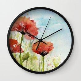Red Flowers Watercolor Landscape Poppies Poppy Field Wall Clock