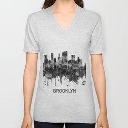 Brooklyn New York Skyline BW Unisex V-Neck
