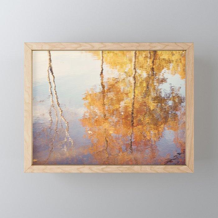 Autumn Trees Reflection Photography, Fall Tree Nature Orange Gold Yellow Purple, Water Reflections Framed Mini Art Print