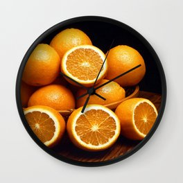 Sweet Oranges Whole and Halved Wall Clock