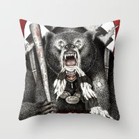 quentin tarantino Throw Pillows featuring Inglourious Basterds (Quentin Tarantino) The Bear Jew by ARTbyGB
