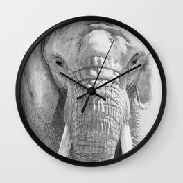 Elephant Photography | Wildlife Art | African | Nature | Animal Photography | Black and White Wall Clock