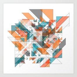 Triangles architecture: modern 2D art Art Print