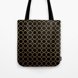 Elegant black faux gold glitter chic quatrefoil vector illustration Tote Bag