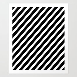 Black and White Diagonal Stripes Art Print