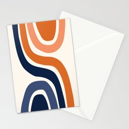 Abstract Shapes 29 in Burnt Orange and Navy Blue Stationery Cards