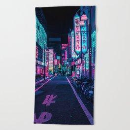 A Neon Wonderland called Tokyo Beach Towel