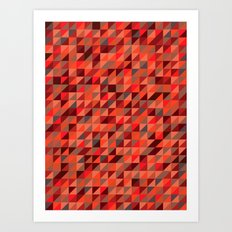 Quilted Reds / Retro Triangles Art Print
