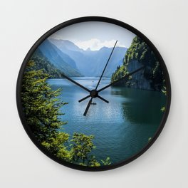 Germany, Malerblick, Koenigssee Lake III- Mountain Forest Europe Wall Clock