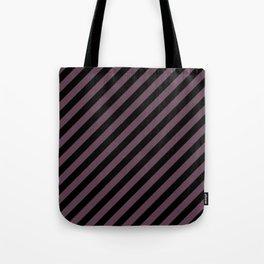 Eggplant Violet and Black Diagonal RTL Stripes Tote Bag