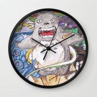 miyazaki Wall Clocks featuring Miyazaki Mash-Up by Loveless D. Grim