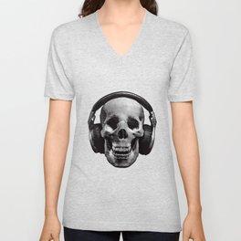 Hipster Skull Listening to Music on Headphones Unisex V-Neck