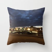 moscow Throw Pillows featuring Night Moscow. by Mikhail Zhirnov