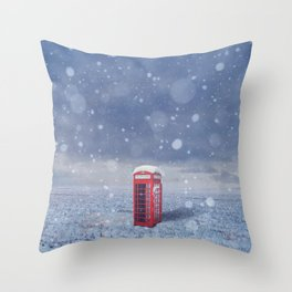 in snowy field Throw Pillow