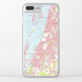 Vintage Map of Clearwater Florida (1974) Clear iPhone Case