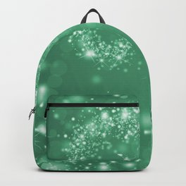 Elegant green white abstract starry Christmas pattern Backpack