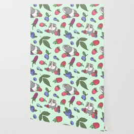 Guinea Pig Pattern in Mint Green Background with mix berries Wallpaper