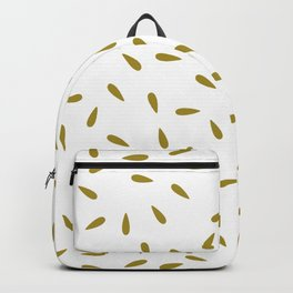 Yellow Olive Green Raindrops on White Background Backpack
