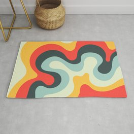 Vintage Abstract Swirl Waves Art Retro 50s and 60s Color Palette 2 Rug