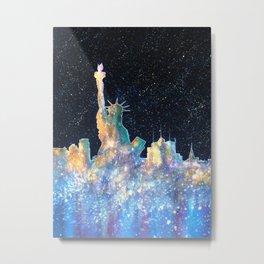 Liberty And New York Cosmos Metal Print