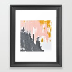 Gray and pink abstract Framed Art Print