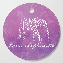 Elephant Love Purple Cutting Board