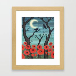crows, fireflies, and poppies in the moonlight Framed Art Print