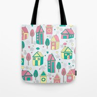 home sweet home Tote Bags featuring Home by One April