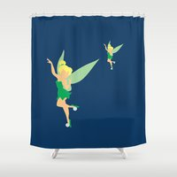 tinker bell Shower Curtains featuring Tinker bell by Dewdroplet