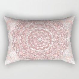 Pink lace Mandala on rose Marble Rectangular Pillow