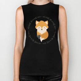 Sleepy Fox Pattern Biker Tank