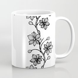 Black and White Floral Wreath Lineart Coffee Mug