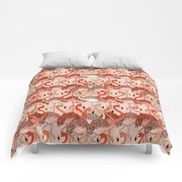 Living Coral Color Flamingos Comforters