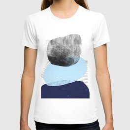 Blue and Black Mid-Century Modern Abstract T-shirt