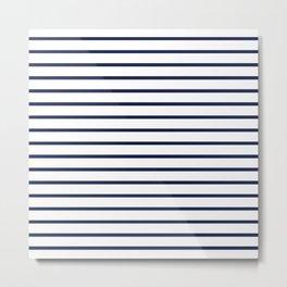 Horizontal Navy Blue Stripes Pattern Metal Print