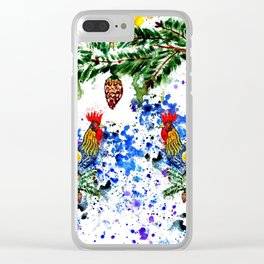 Blue watercolor rooster Clear iPhone Case