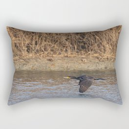 The great cormorant flies at water level over a river Rectangular Pillow