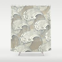 waves Shower Curtains featuring waves by Vickn