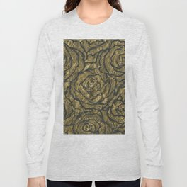 Intense Rose Print on Textured Canvas Long Sleeve T-shirt