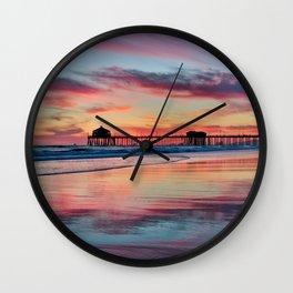 Surf City Sunsets 3/23/15     Huntington Beach Pier Wall Clock